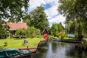 Photo Germany Houses Marinas Village Canal Lawn Trees village Lehde Cities Nature