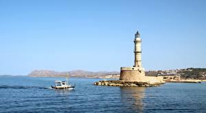 Desktop wallpapers Greece Sea Lighthouses Speedboat Crete, Chania Nature