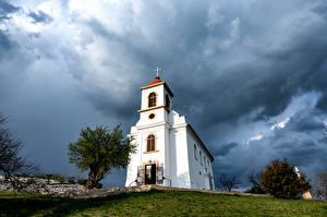 Photo Hungary Church Clouds  Cities