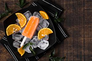 Fotos & Bilder Speiseeis Orange Frucht Eis Teller Lebensmittel