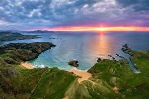 Picture Ireland Coast Sunrise and sunset Clouds Donegal Nature