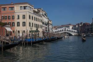 Hintergrundbilder Italien Boot Brücken Kanal Venedig Rialto Bridge