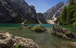Picture Italy Mountains Lake Stone Moss Lake Prags South Tyrol Nature