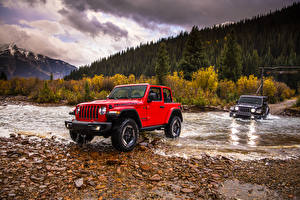 Hintergrundbilder Jeep SUV Rot Metallisch Pick-up 2018 Wrangler automobil