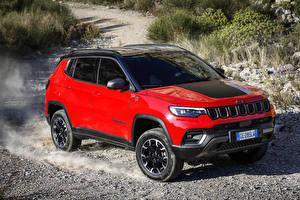 Fondos de escritorio Jeep Crossover Rojo Metálico 2021 Compass Trailhawk 4xe automóviles