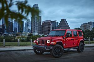 Fotos Jeep SUV Rot Metallisch 2021 Wrangler Unlimited Sahara 4xe automobil
