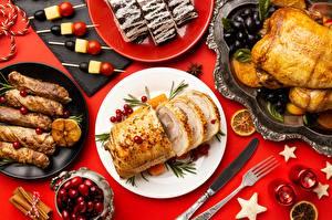 Desktop hintergrundbilder Messer Tischtermine Hühnerbraten Teller Essgabel Lebensmittel