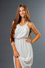 Pictures Smile Pose Gown Glance Lea young woman