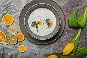 Image Lemons Tulips Soups Plate Flowers