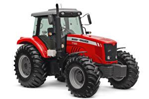 Fotos & Bilder Traktor Rot Weißer hintergrund Massey Ferguson 7180 Cab, 2009 -- Mädchens