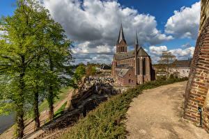 Wallpapers Netherlands Church Clouds Trees Kessel, Limburg Cities