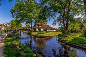 Bilder Niederlande Dorf Kanal Bäume Giethoorn