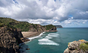 Pictures New Zealand Coast Crag Clouds Whites Beach