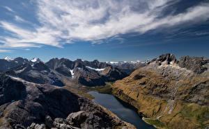 Desktop hintergrundbilder Neuseeland Gebirge See Wolke Lake Adelaide Natur