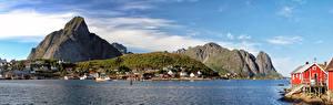 Wallpaper Norway Lofoten Mountains Houses Panorama  Nature