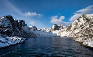Tapety na pulpit Norwegia Góry Turnia Fiord Djupfjorden