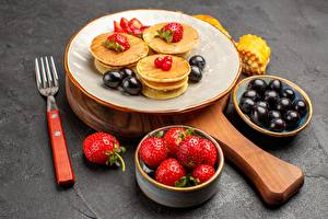 Pictures Hotcake Strawberry Plate Fork Food