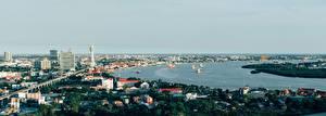 Desktop wallpapers Panoramic Ships Thailand Bangkok Rivers Cities