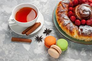 Wallpapers Pie Pastry Cookies Tea Cinnamon French macarons Cup