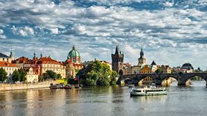 Pictures Prague Czech Republic Rivers Bridges Riverboat Charles Bridge Vltava