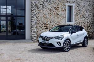Desktop wallpapers Renault White Metallic Crossover Hybrid vehicle Captur E-TECH Hybrid Initiale Paris, (Worldwide), 2021 Cars