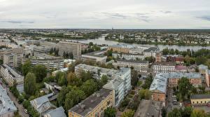 Fotos & Bilder Russland Haus Flusse Von oben Tver Städte