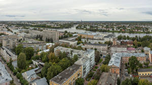 Desktop wallpapers Russia Houses Rivers From above Tver Cities