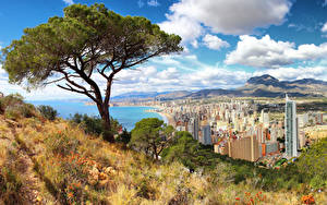 Wallpapers Spain Building Coast Trees Hill Alicante Cities