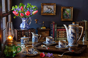 Wallpaper Still-life Tulip Campanula Pictorial art Kerosene lamp Coffee Vase Books Pitcher Cup Spoon Food Flowers
