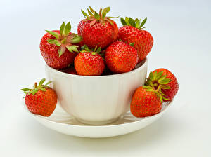 Pictures Strawberry Gray background Cup Food