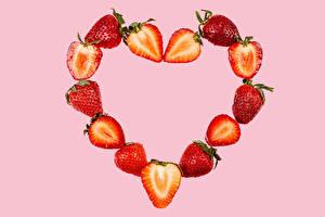 Fotos & Bilder Erdbeeren Rosa Hintergrund Herz Lebensmittel