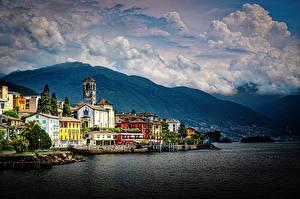 Wallpaper Switzerland Lake Mountains Building Alps Lago Maggiore Nature