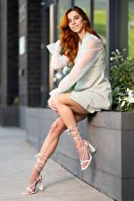 Images Taylor Freeze Redhead girl Posing Legs Smile Dress Glance Girls