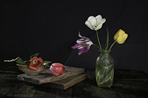 Hintergrundbilder Tulpen Bretter Vase Bunte Blumen