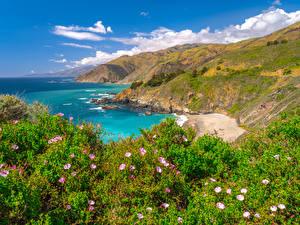 Tapety na pulpit Stany zjednoczone Wybrzeże Ocean Góry Kalifornia Big Sur
