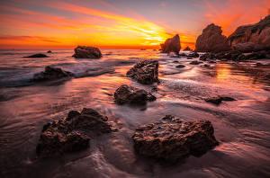 Pictures USA Coast Sunrise and sunset California Rock El Matador beach Nature