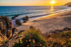 Wallpaper USA Coast Sunrises and sunsets California Beaches Footprints Malibu Beach