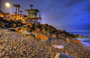 Desktop hintergrundbilder Vereinigte Staaten Abend Küste Stein Kalifornien Straßenlaterne Palmen HDRI Oceanside Natur