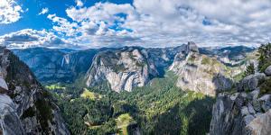 Bakgrunnsbilder USA Fjell Park Panorama Landskapsfotografering Klippe California Yosemite Skyer Glacier Point Natur