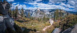 Bureaubladachtergronden Verenigde staten Berg Park Panorama Landschap van Hemelgewelf Yosemite klif landform Een boom Californië Glacier Point