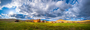 Image USA Park Building Panorama California Clouds Grass Bodie State Historic Park Nature