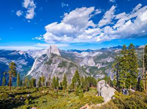 Bakgrunnsbilder Amerika Park Fjell Yosemite Skyer Trær Klippe California Glacier Point Natur