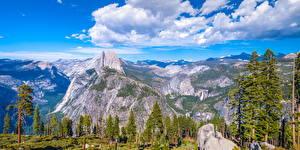Bakgrunnsbilder USA Park Fjell Landskapsfotografering Yosemite California Skyer Klippe Trær Glacier Point Natur