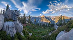 Fotos Vereinigte Staaten Parks Berg Landschaftsfotografie Yosemite Felsen Bäume Kalifornien Glacier Point Natur