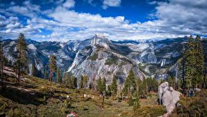 Bakgrunnsbilder USA Parker Fjell Landskapsfotografering Himmelen California Yosemite Klippe Trær Skyer Glacier Point Natur