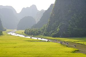Papel de Parede Desktop Vietnã Montanhas Rios Barcos Tam Kok National Park, Ninh Binh