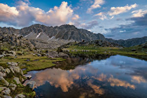 Picture Andorra Mountain Lake Clouds Encamp Nature