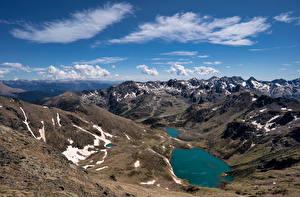 Bakgrunnsbilder Andorra Fjell Innsjø Skyer Tristaina lake Natur