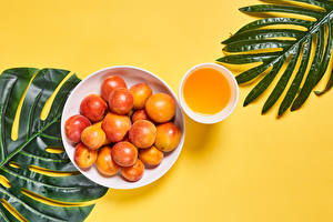 Image Apricot Juice Colored background Branches Plate Cup Food