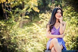 Bureaubladachtergronden Aziatisch Bokeh Brunette meisje Kijkt Zitten Jurk Handen Benen jonge vrouw